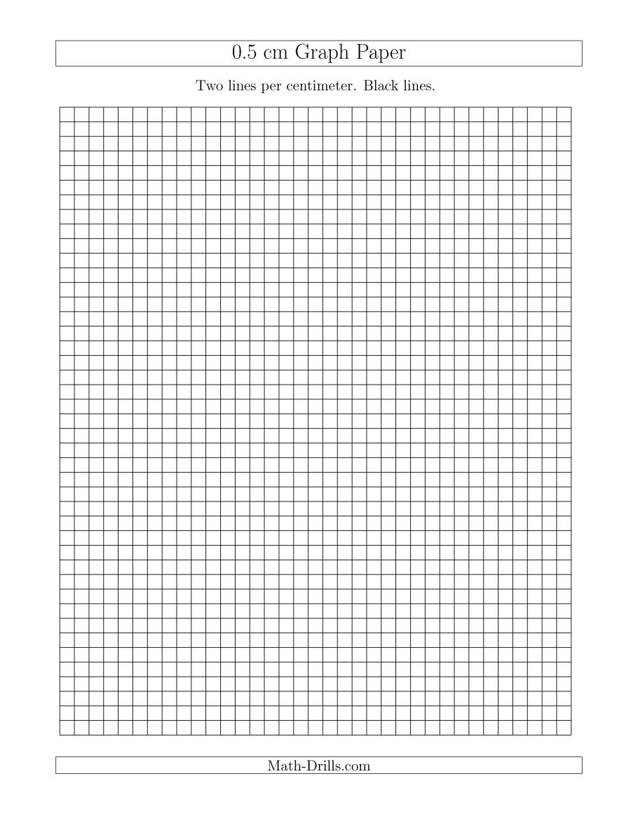 0.5 Cm Graph Paper With Black Lines (A) - Free Printable Graph Paper For Elementary Students