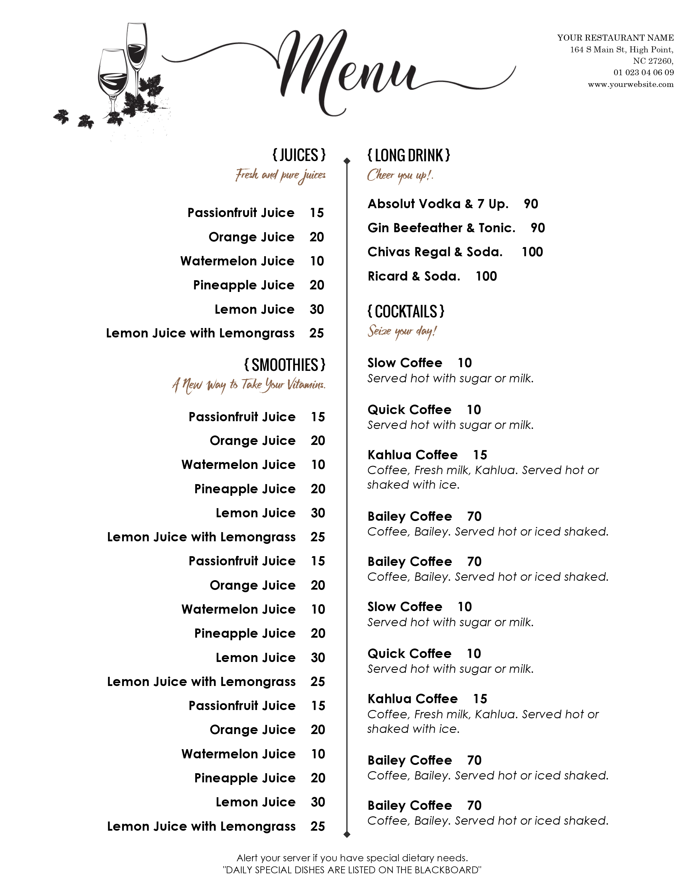 001 Free Menu Template For Word Ideas ~ Ulyssesroom - Free Printable Menu Templates Word