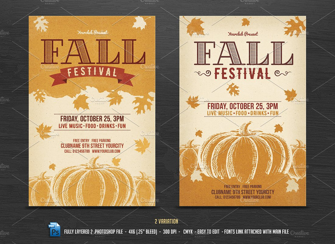 002 Template Ideas Preview1 - Free Printable Fall Flyer Templates