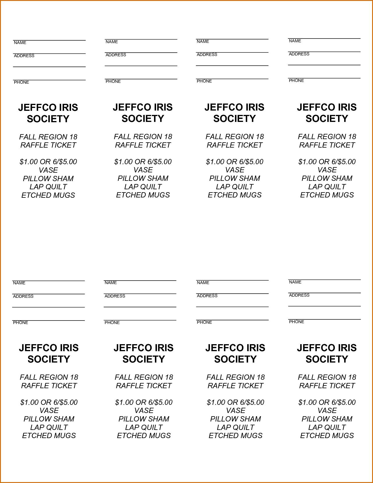 008 Free Printable Raffle Tickets Ticket Template ~ Ulyssesroom - Free Printable Raffle Tickets