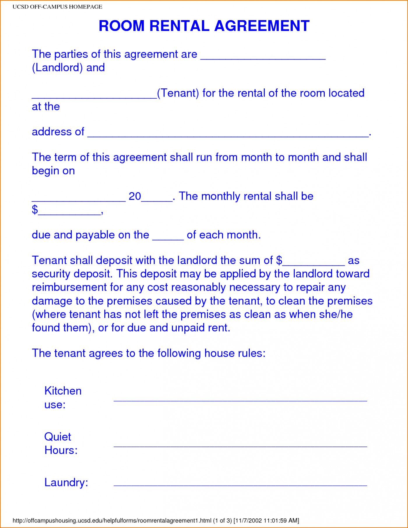009 Rental Agreement Templates Free Apartment Lease Printable Unique - Free Printable Room Rental Agreement Forms