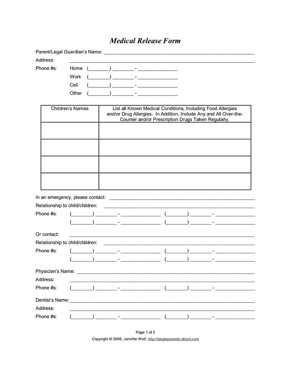 015 Medical Release Form Medicalreleaseform1 Template Ideas - Free Printable Medical Release Form