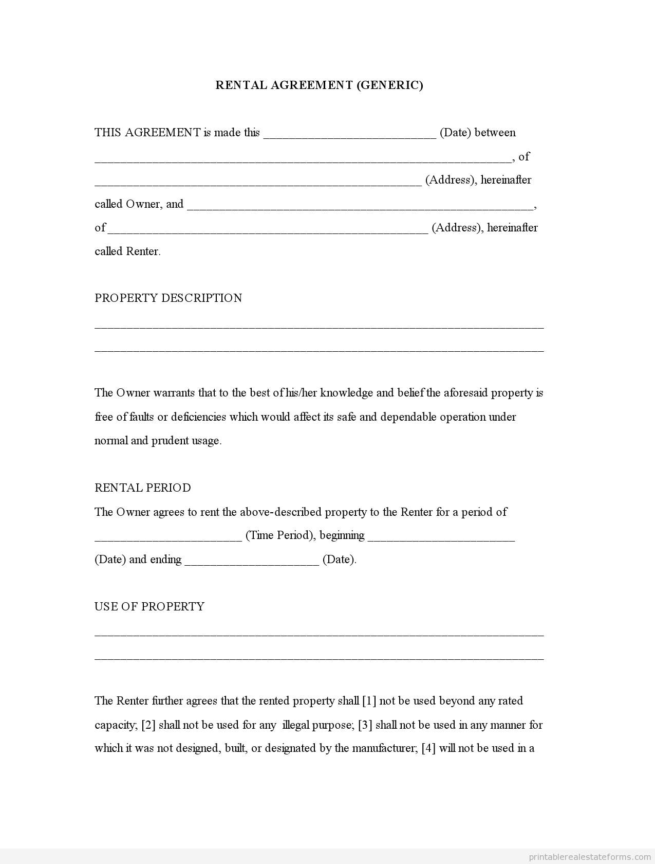 015 Simple Lease Agreement Template Free Printable Basic Rental Form - Free Printable Room Rental Agreement Forms