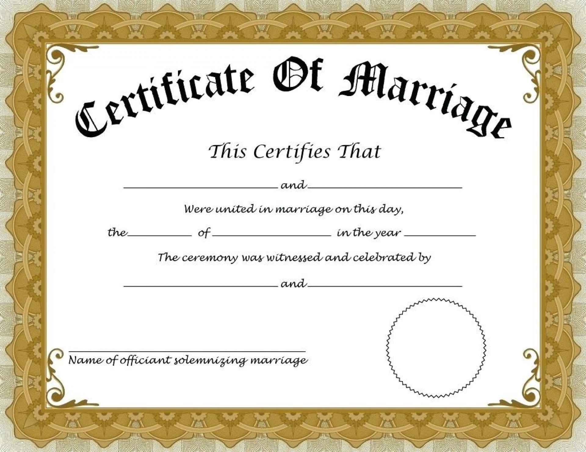 015 Template Ideas Fake Marriage Certificate Free Editable - Fake Marriage Certificate Printable Free