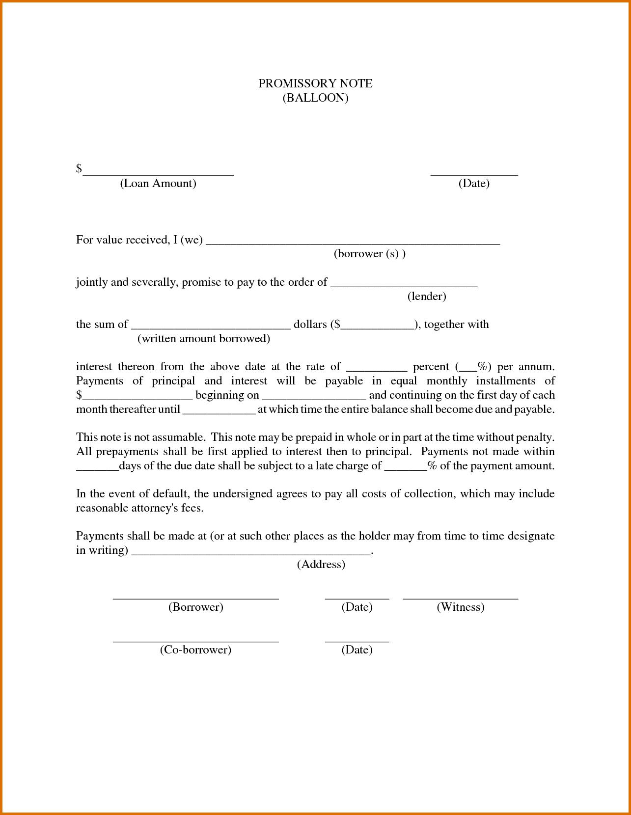 018 Template Ideas Free Promissory Note For Personal Loan ~ Ulyssesroom - Free Printable Promissory Note For Personal Loan
