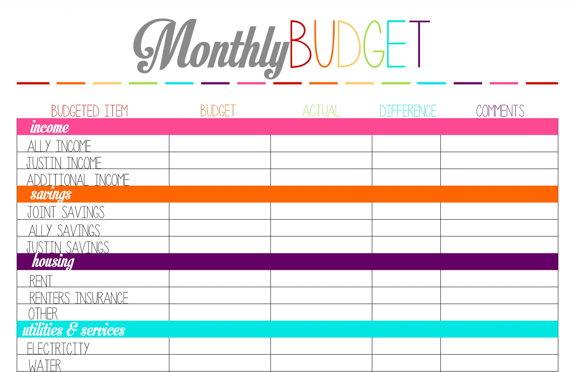 019 Free Printable Personal Budget Template Ideas Worksheet Photo - Free Printable Budget Sheets
