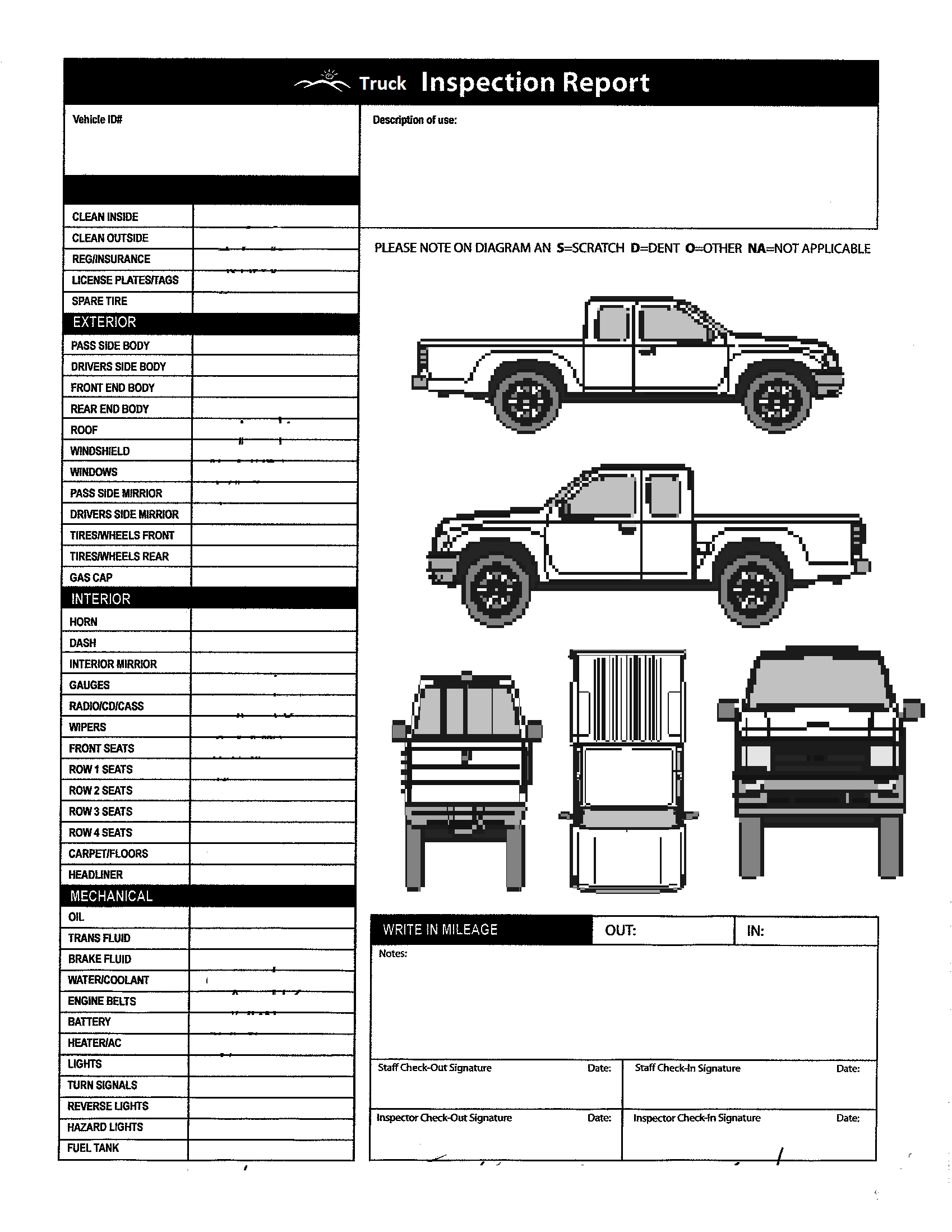 019 Vehicle Inspection Form Template Free Printable Gameshacksfree - Free Printable Vehicle Inspection Form