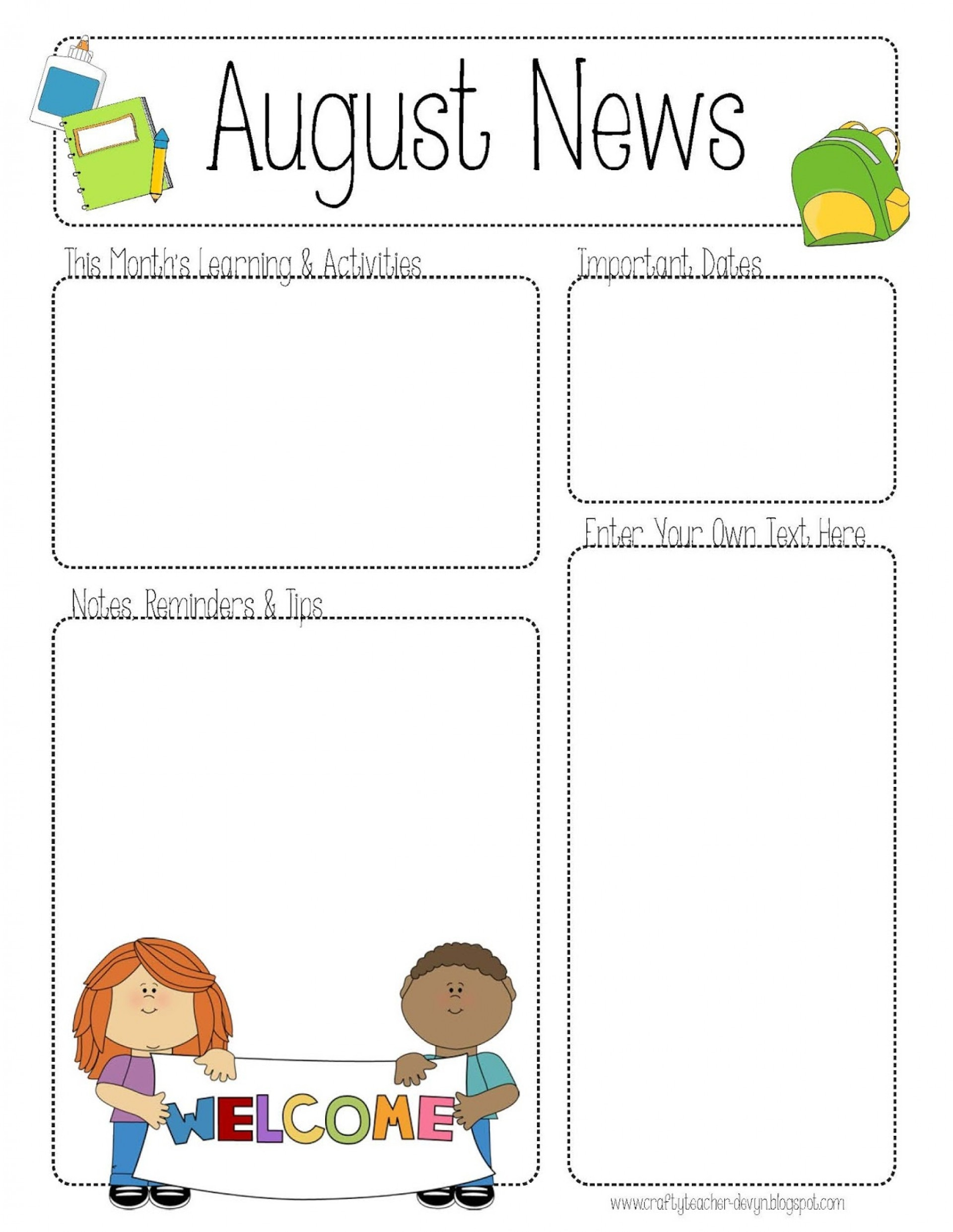 026 Template Ideas Free Printable Newsletter Templates For Teachers - Free Printable Preschool Newsletter Templates