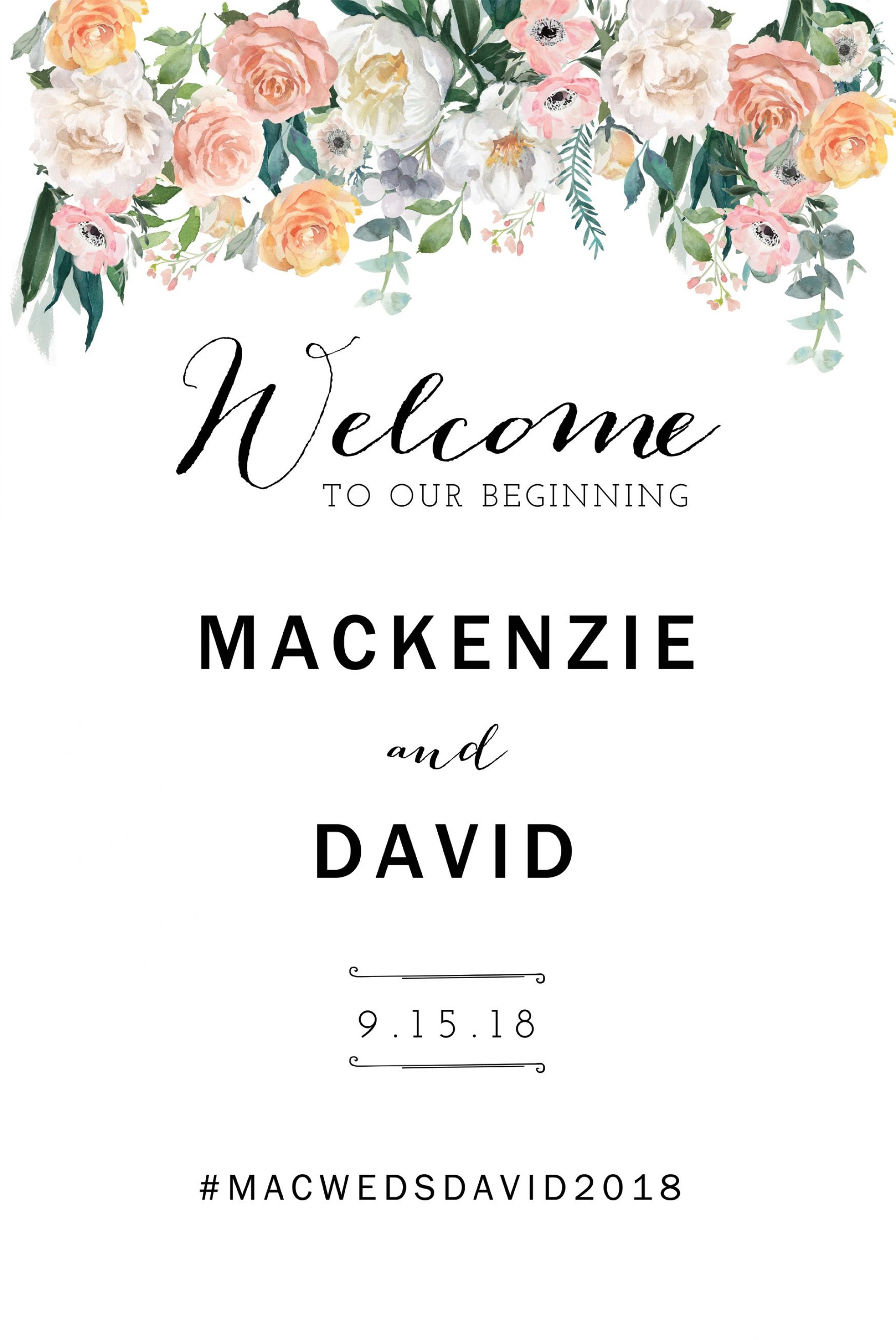 028 Wedding Welcome Sign Template ~ Ulyssesroom - Free Printable Welcome Sign Template