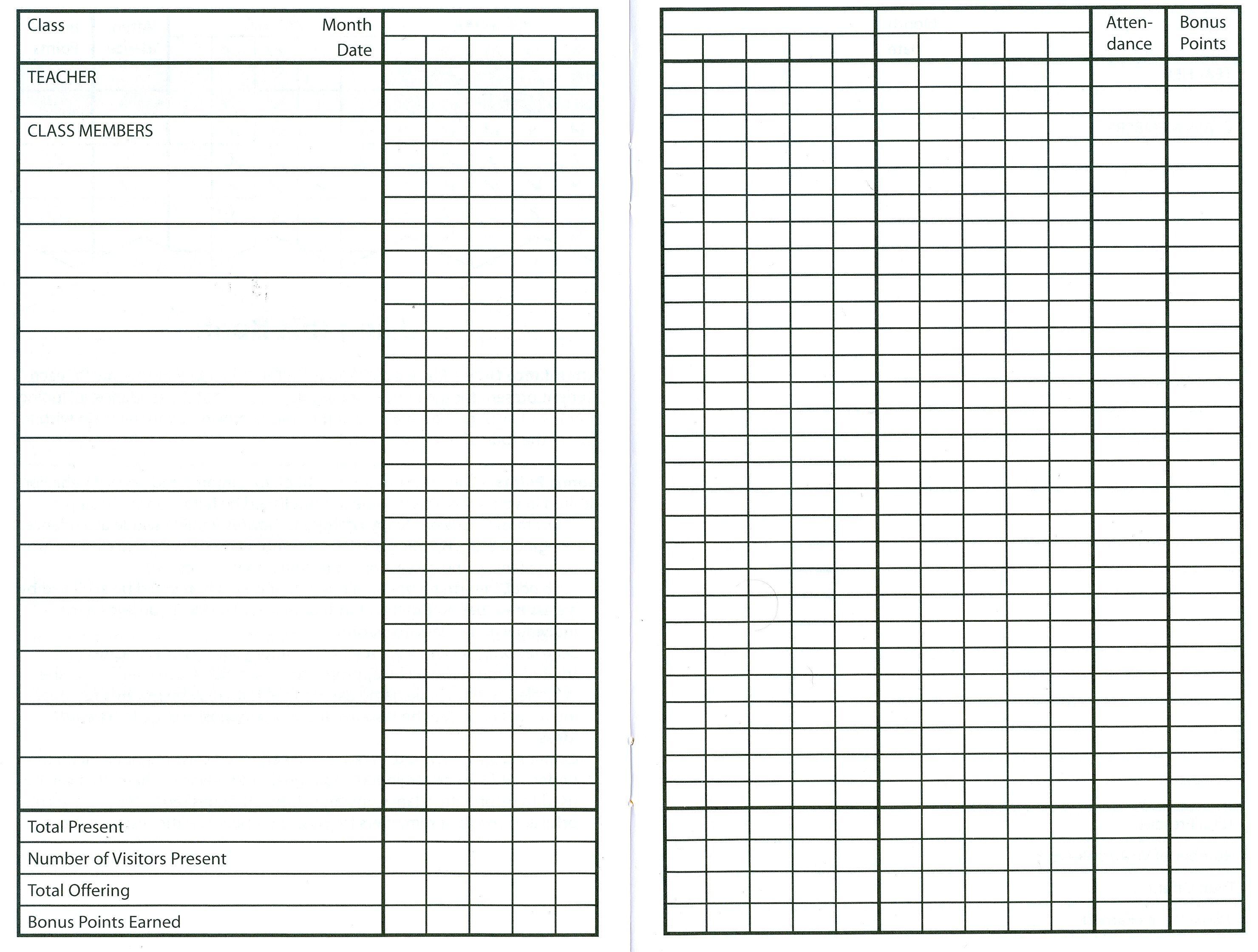 10 Best Images Of Sunday School Attendance Sheet Template Free - Free Printable Sunday School Attendance Sheet