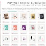 107 Sets Of Free, Printable Wedding Table Numbers   Free Printable Table Numbers