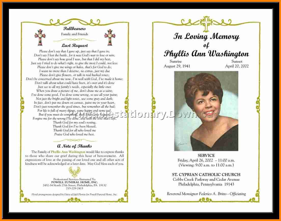 12+ Free Funeral Program Layout | Quick Askips - Free Printable Funeral Program Template