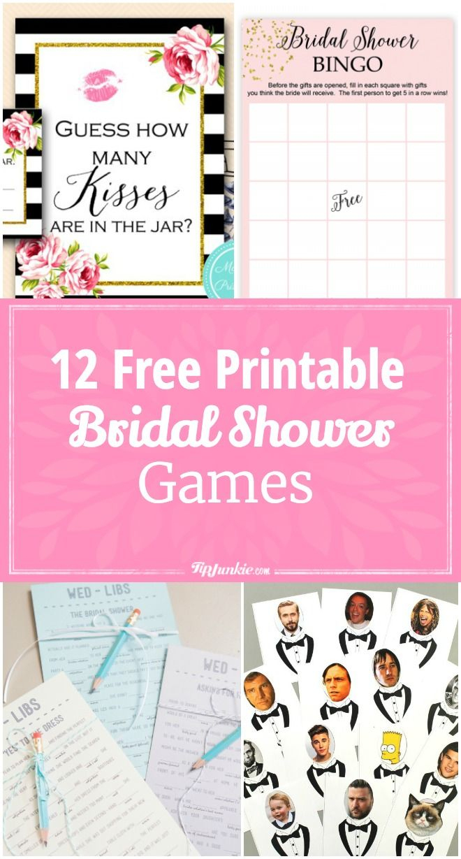 12 Free Printable Bridal Shower Games   Party Time   Pinterest - Free Printable Bridal Shower Blank Bingo Games