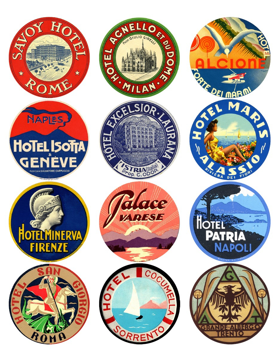 12X Vintage Travel Stickers: Italy Mix - Vintralab - Free Printable Travel Stickers