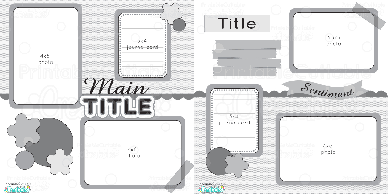 12X12 Two Page Free Printable Scrapbook Layout - Free Printable Scrapbook Pages