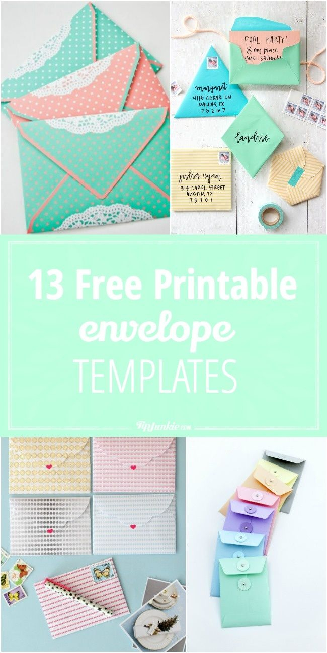 13 Free Printable Envelope Templates | Printables | Pinterest - Free Printable Greeting Card Envelope Template