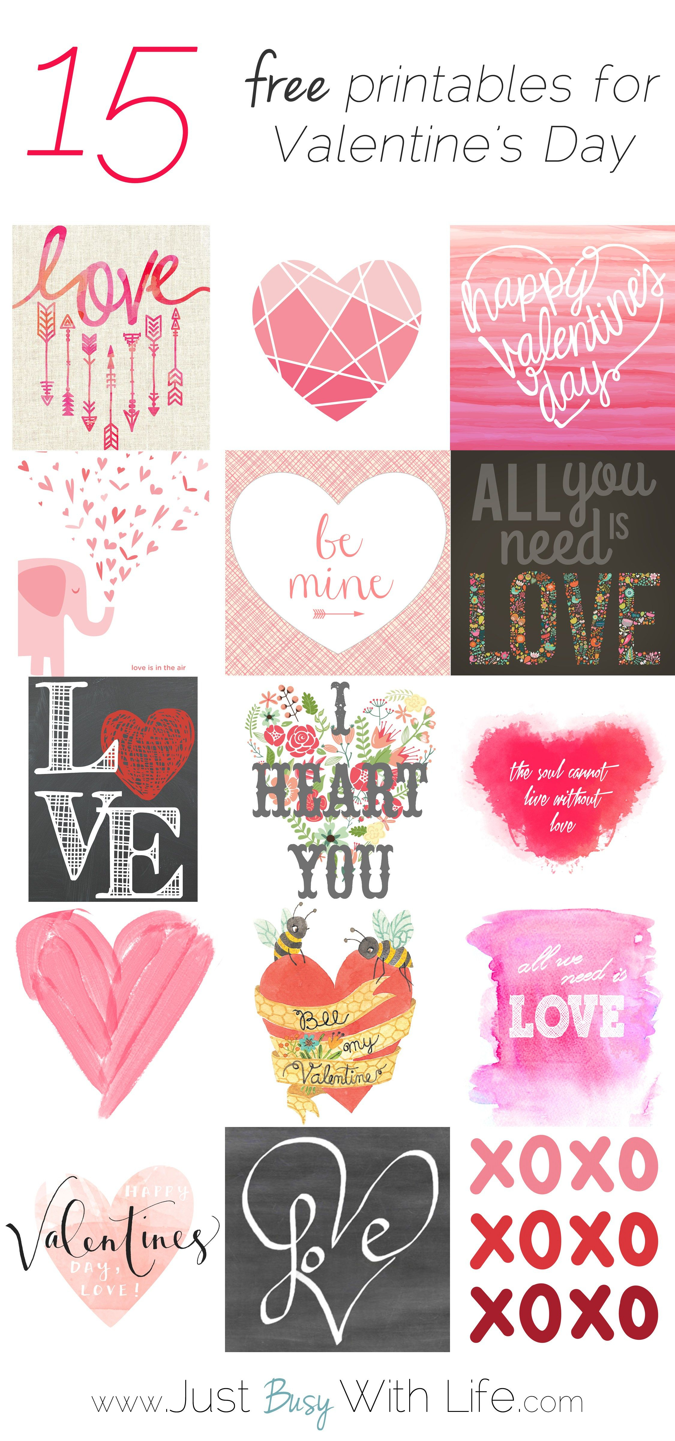 15 Free Valentine's Day Printables | Just Busy With Life - Free Printable Valentine's Day Decorations