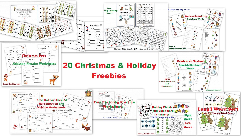 20 Free Christmas And Holiday Printables - Homeschool Den - Free Homeschool Printable Worksheets