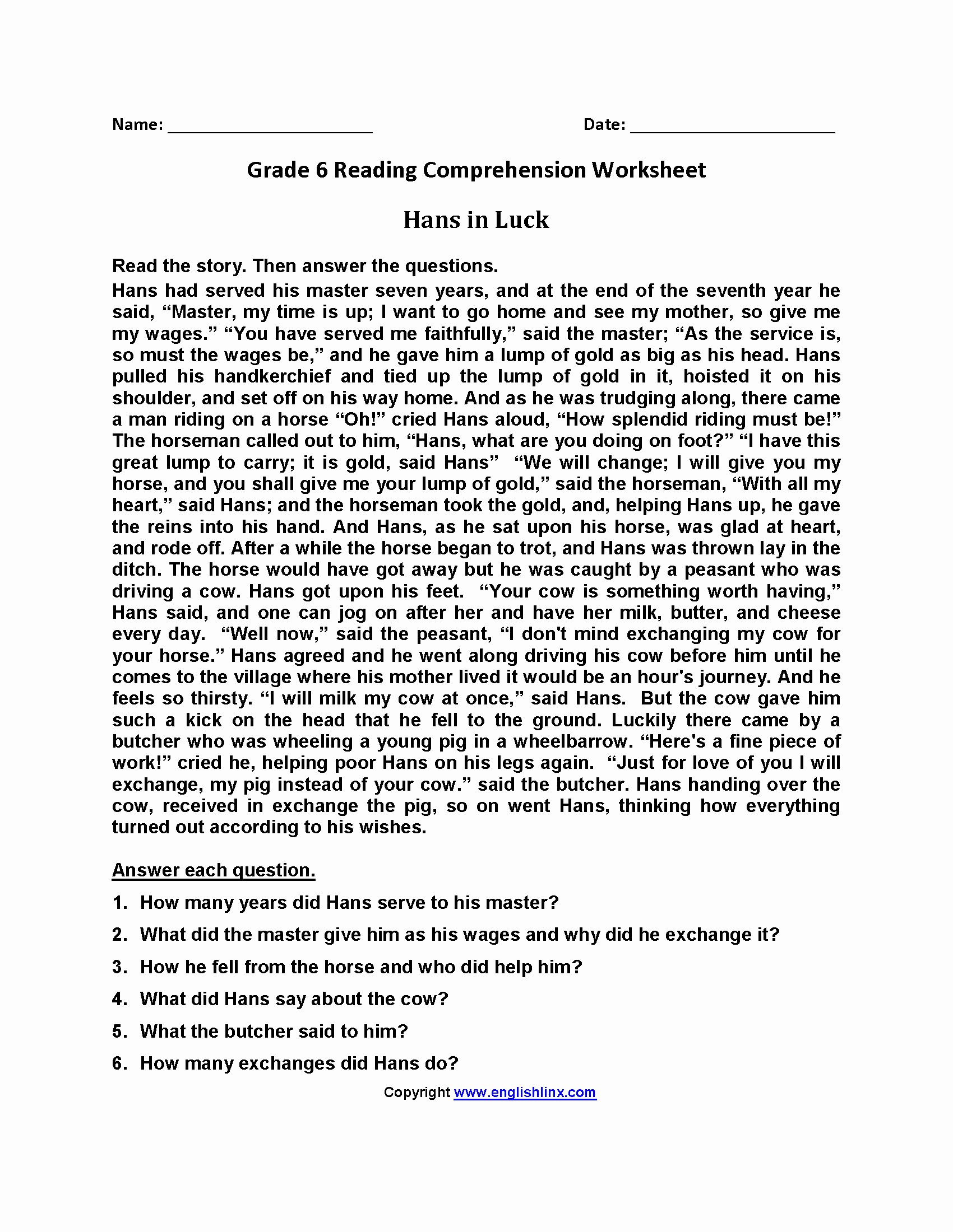 20 Free Printable Reading Comprehension Worksheets For 6Th Grade - Free Printable Reading Comprehension Worksheets Grade 5