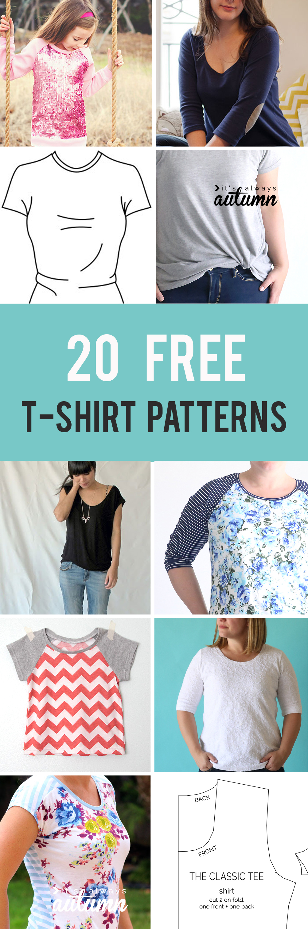 20 Free T-Shirt Patterns You Can Print + Sew At Home - It's Always - Free Printable Blouse Sewing Patterns