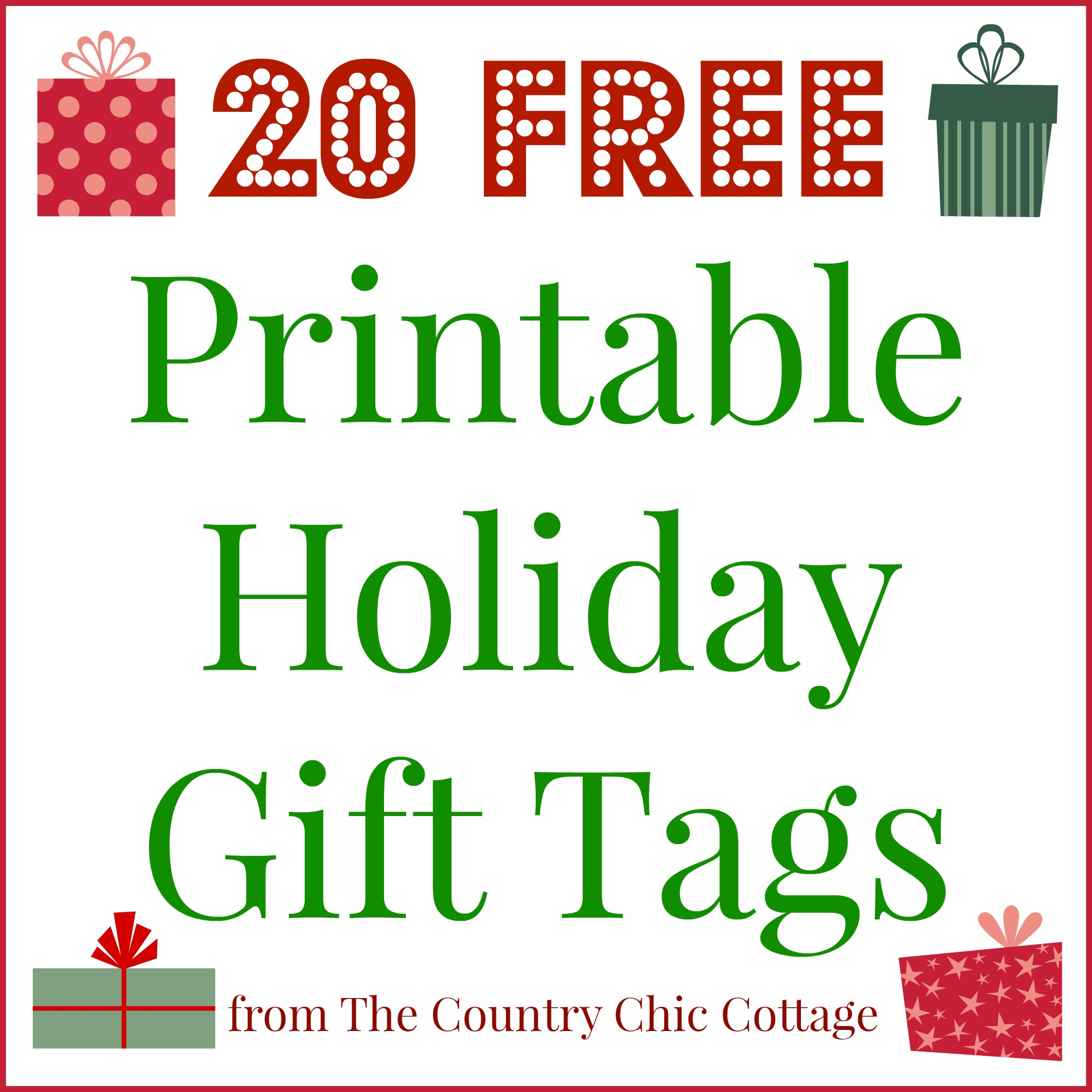 20 Printable Holiday Gift Tags (For Free!!) - The Country Chic Cottage - Free Printable Christmas Tags