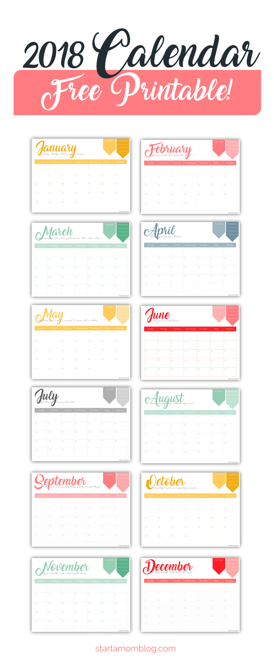 2018 Free Calendar Printable With Inspirational Quotes For Moms - Free Printable Quotes Templates