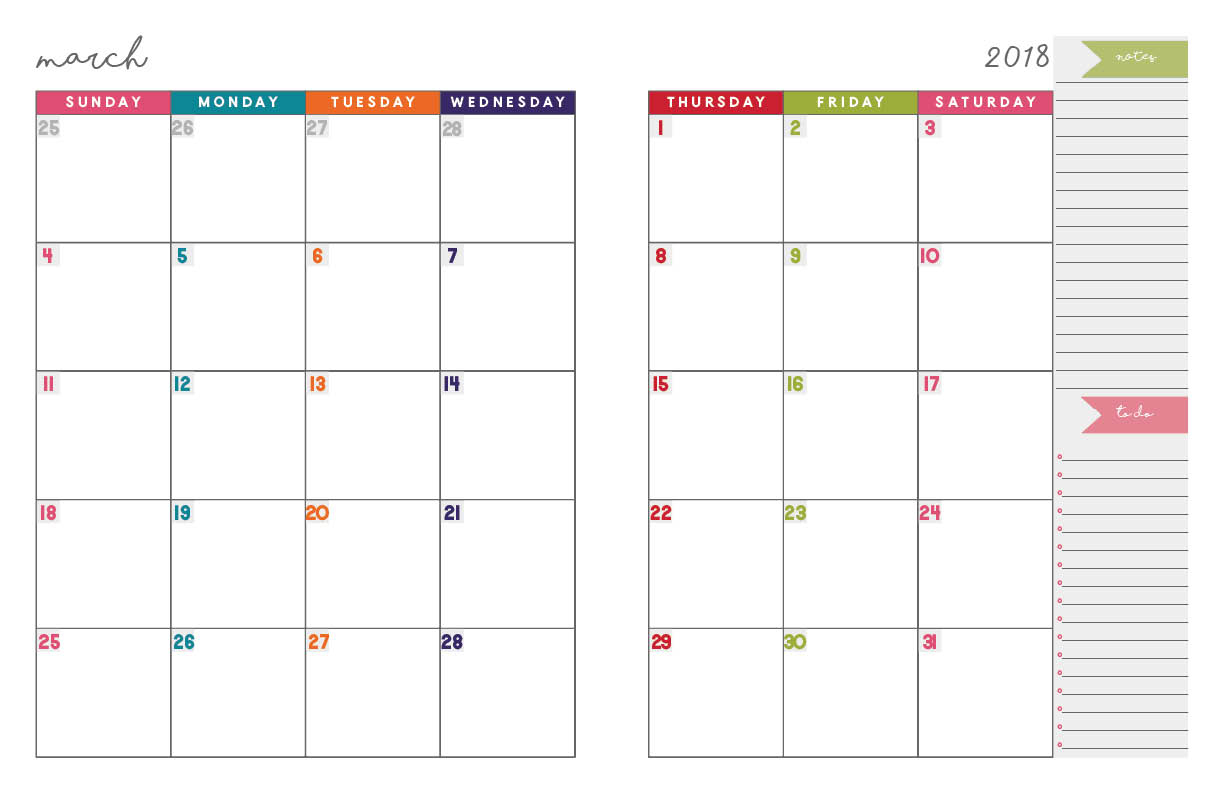 2018 Monthly Planner | Free Printable Calendar, 2-Page Spread - Free Printable Monthly Planner
