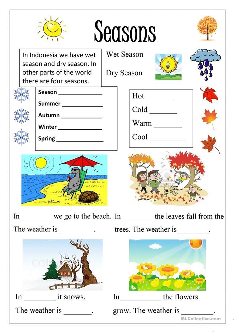 224 Free Esl Seasons Worksheets - Free Printable Seasons Worksheets For Kindergarten