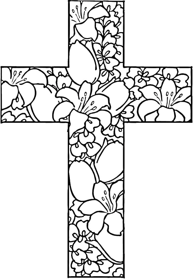 25 Religious Easter Coloring Pages Flowers Free Printable And - Free Printable Cross