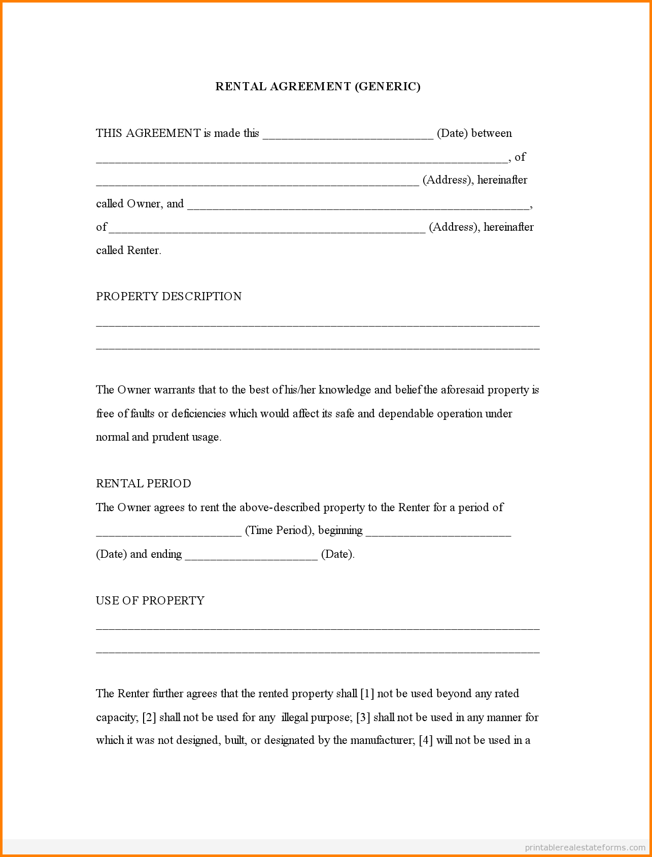 29 Images Of Print Free Rental Agreement Template | Linaca - Blank Lease Agreement Free Printable