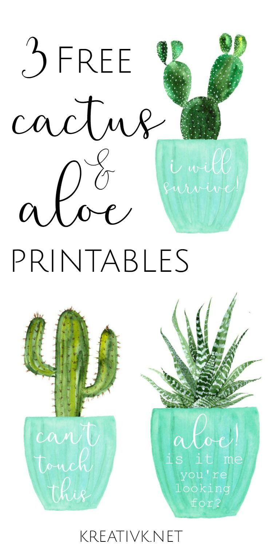 3 Free Cactus & Aloe Printables | Free Printables | Printables - Free Printable Cactus