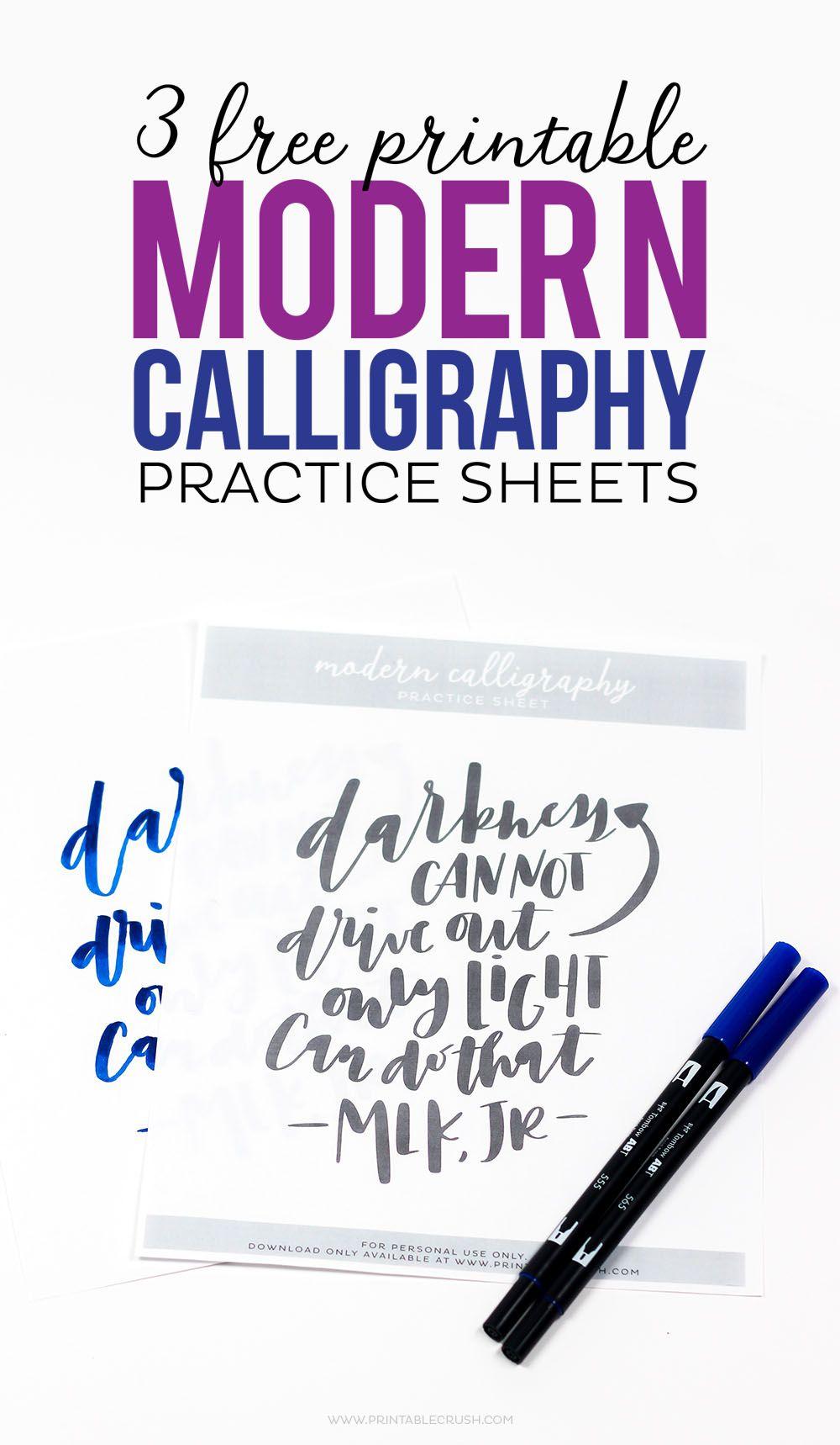 3 Free Printable Modern Calligraphy Practice Sheets (Printable Crush - Modern Calligraphy Practice Sheets Printable Free