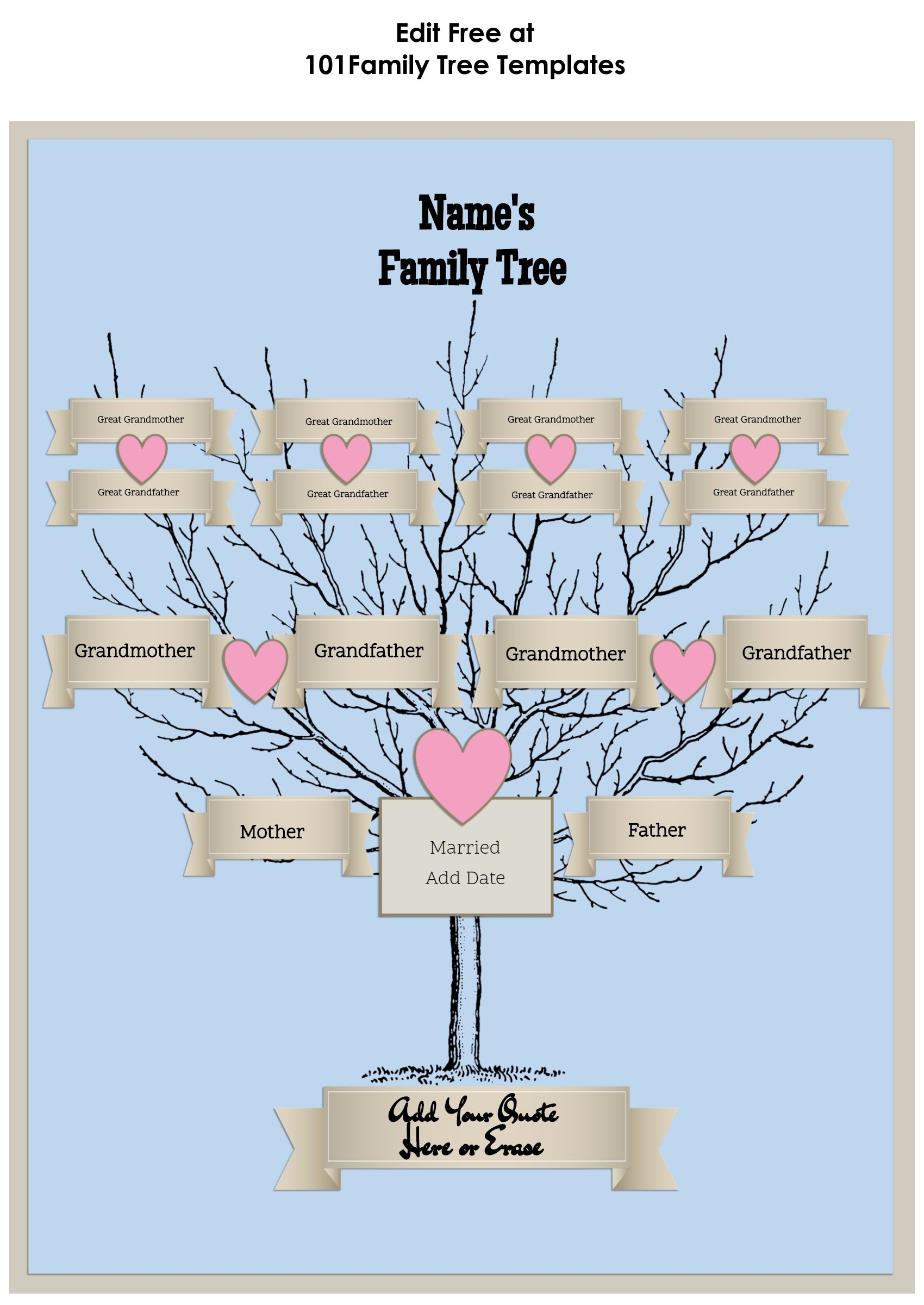 3 Generation Family Tree Generator   All Templates Are Free To Customize - Family Tree Maker Free Printable