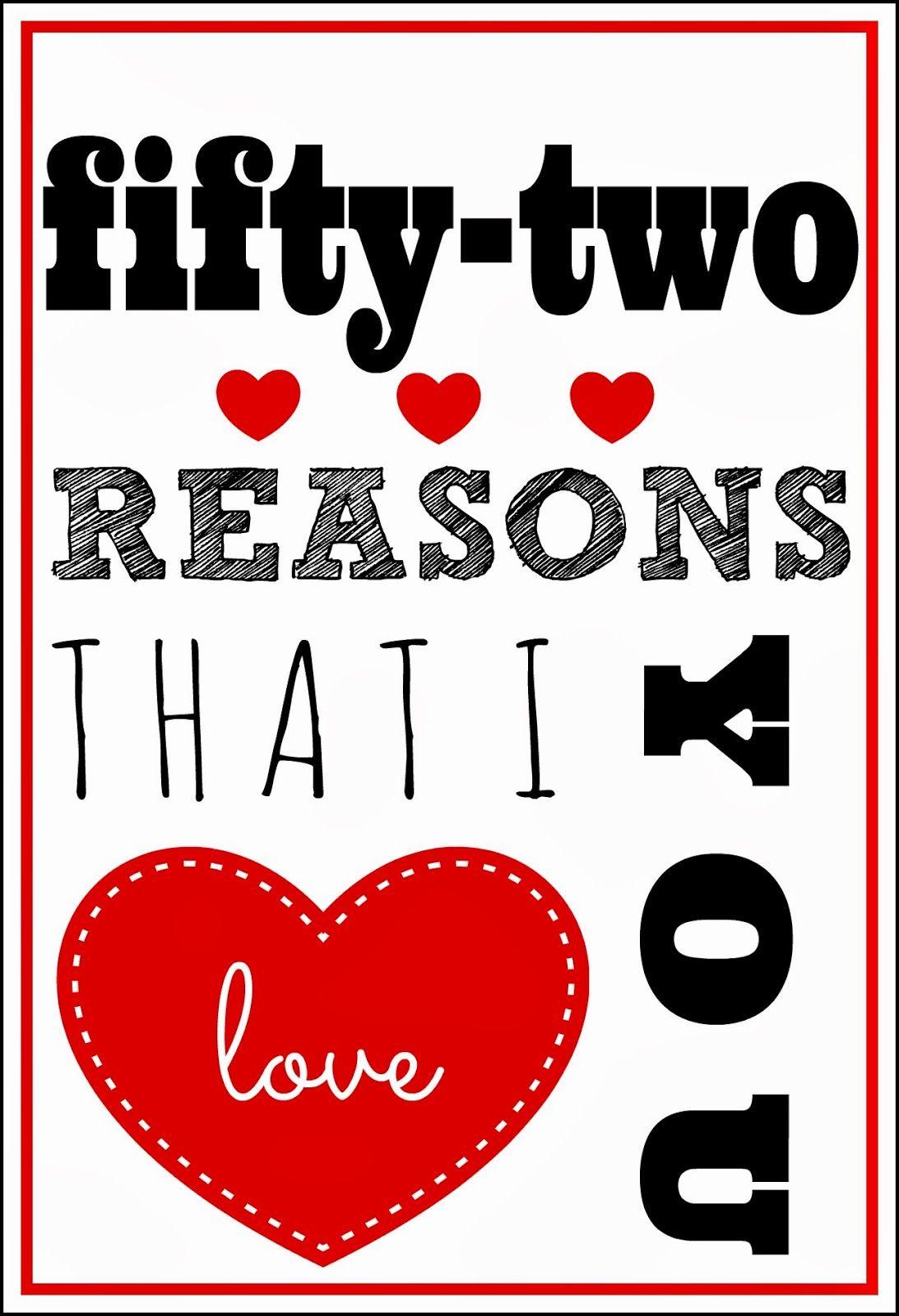 30 52 Reasons I Love You Template Free ~ Atabeyimedya - 52 Reasons Why I Love You Free Printable Template