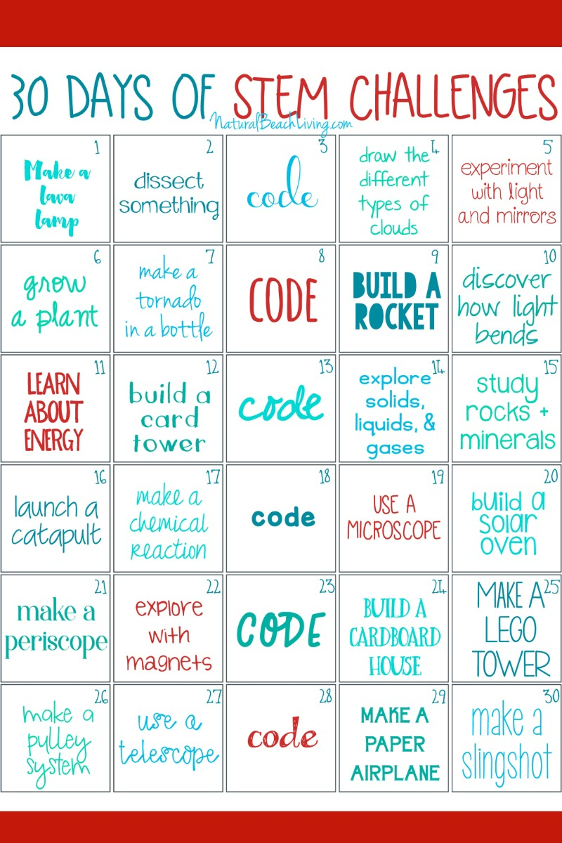 30 Days Of Stem Activities - Stem Challenge - Natural Beach Living - Free Printable Stem Activities