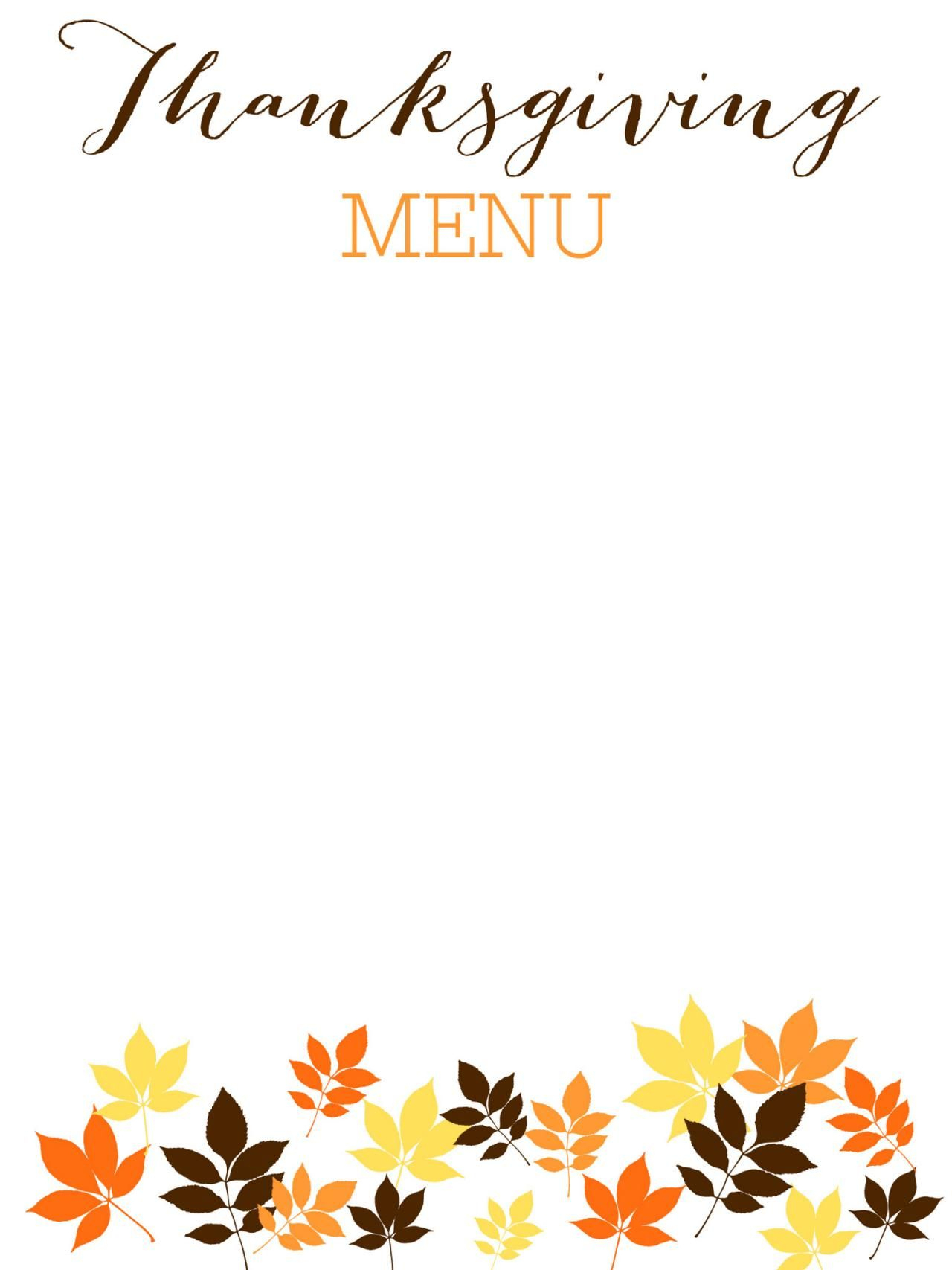 31 Printable (And Free!) Thanksgiving Templates | Examen Final - Free Printable Thanksgiving Menu Template