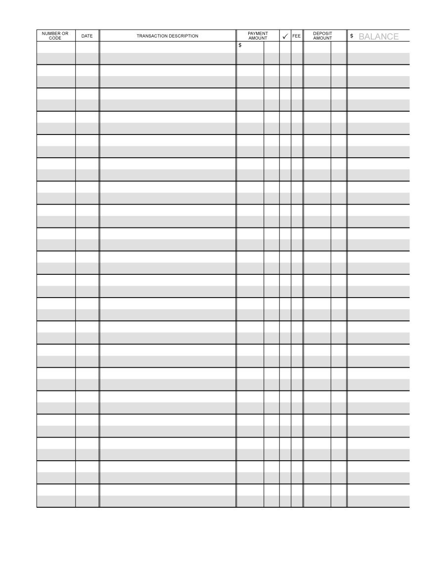37 Checkbook Register Templates [100% Free, Printable] - Template Lab - Free Printable Checkbook Register