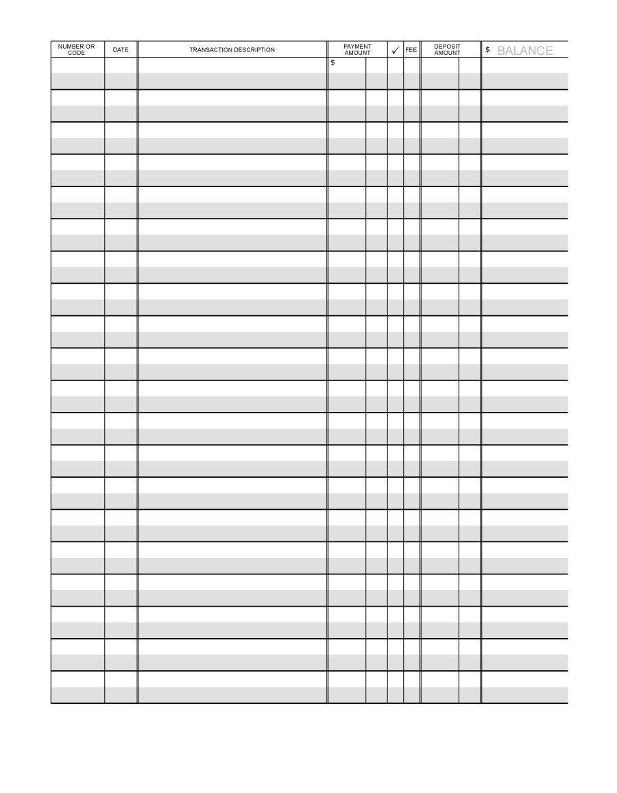 37 Checkbook Register Templates [100% Free, Printable] - Template Lab - Free Printable Transaction Register