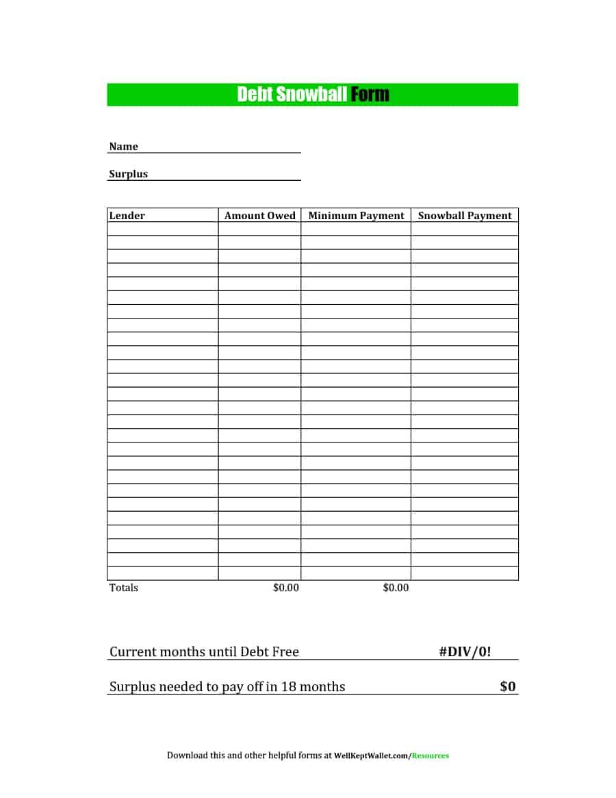 38 Debt Snowball Spreadsheets, Forms & Calculators ❄❄❄ - Free Printable Debt Snowball Worksheet