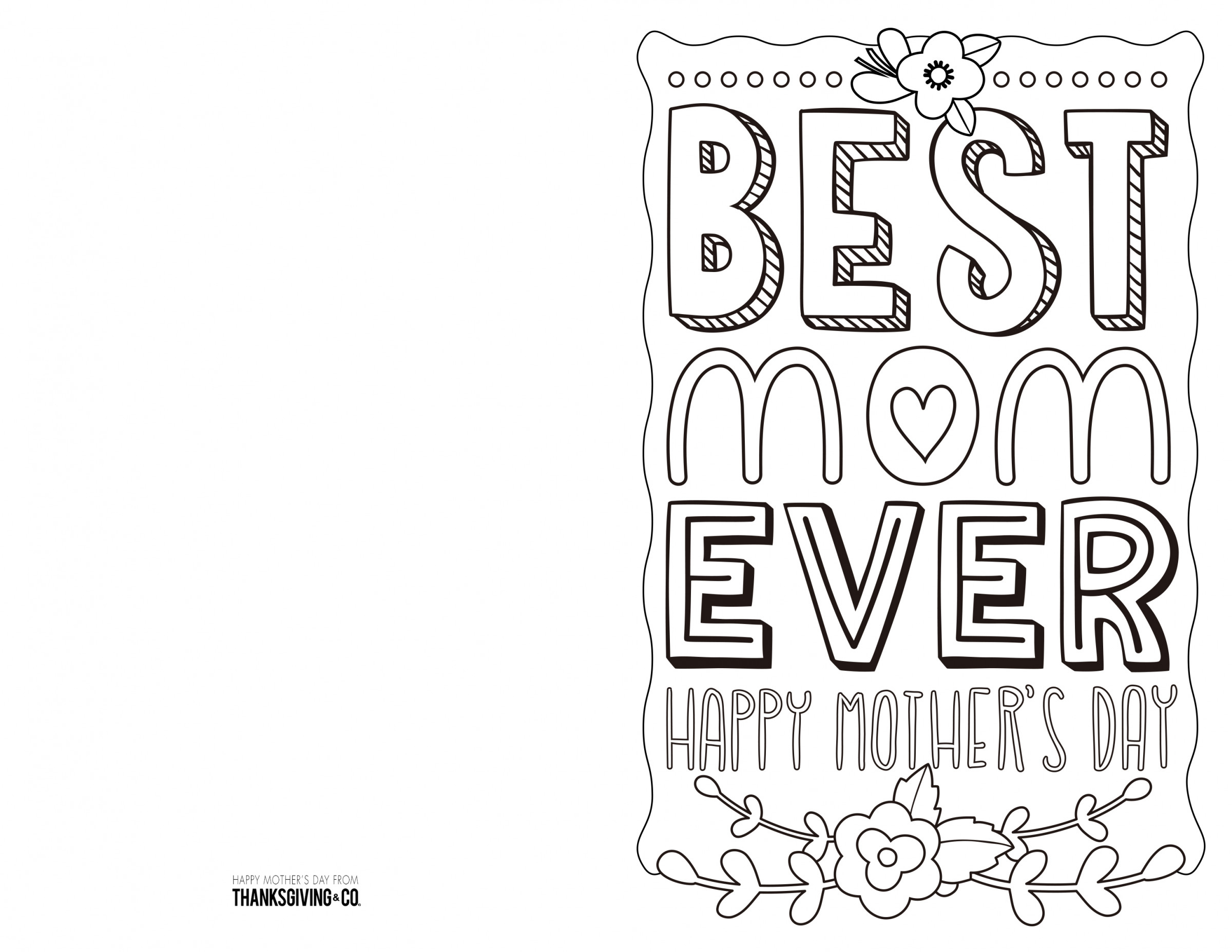 4 Free Printable Mother's Day Ecards To Color - Thanksgiving - Free Printable Mothers Day Cards To Color