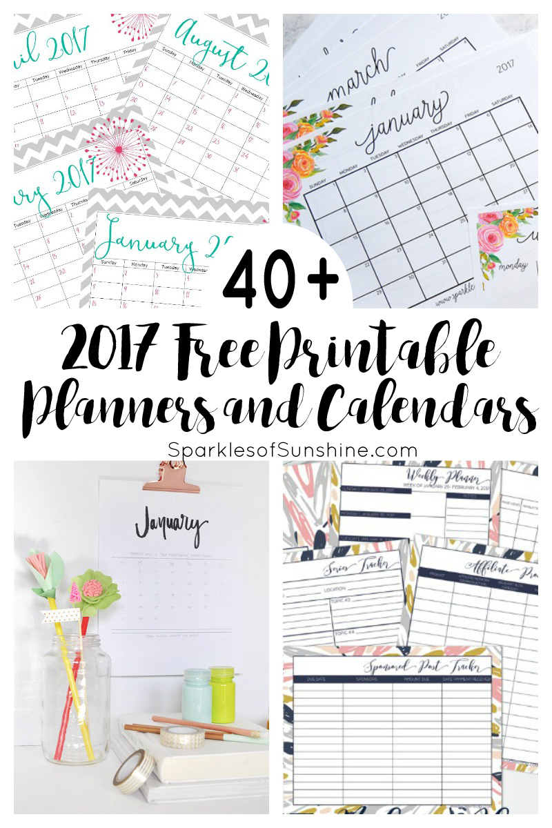 40+ Awesome Free Printable 2017 Calendars And Planners - Sparkles Of - Free Printable Organizer 2017