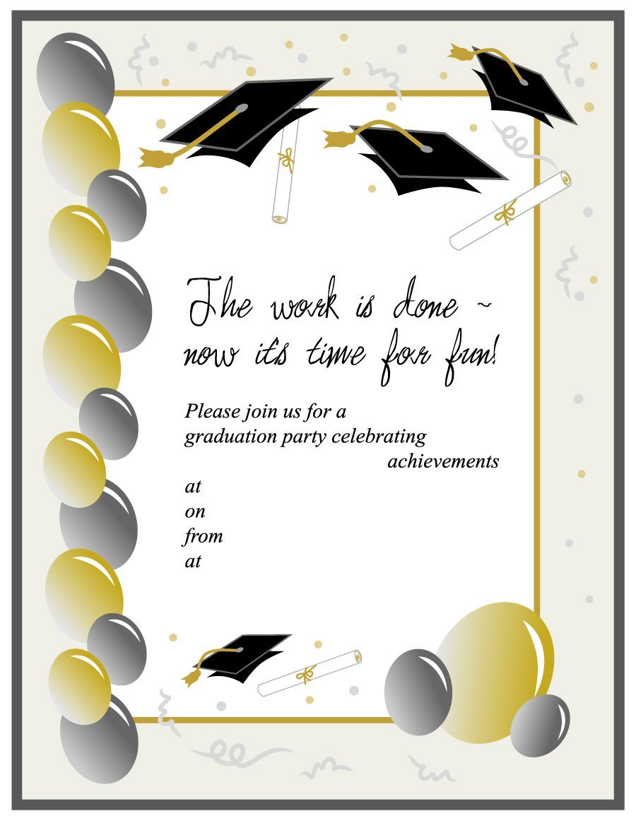 40+ Free Graduation Invitation Templates - Template Lab - Free Printable Graduation Party Invitations