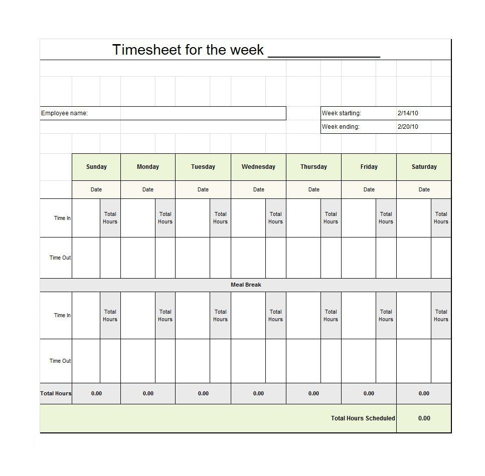 40 Free Timesheet / Time Card Templates ᐅ Template Lab - Free Printable Blank Time Sheets