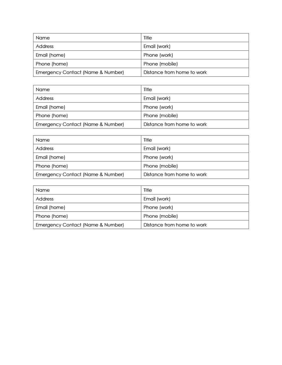 40 Phone & Email Contact List Templates [Word, Excel] - Template Lab - Free Printable Emergency Phone List