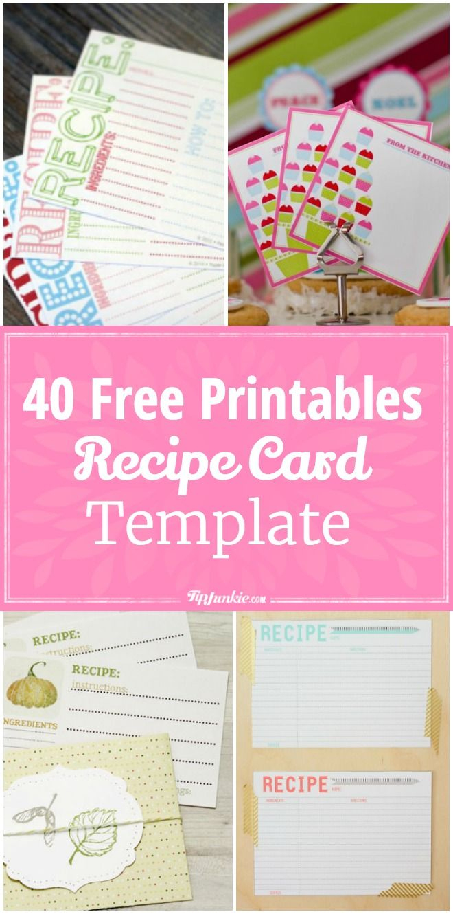40 Recipe Card Template And Free Printables | Printables | Pinterest - Free Printable Recipe Cards