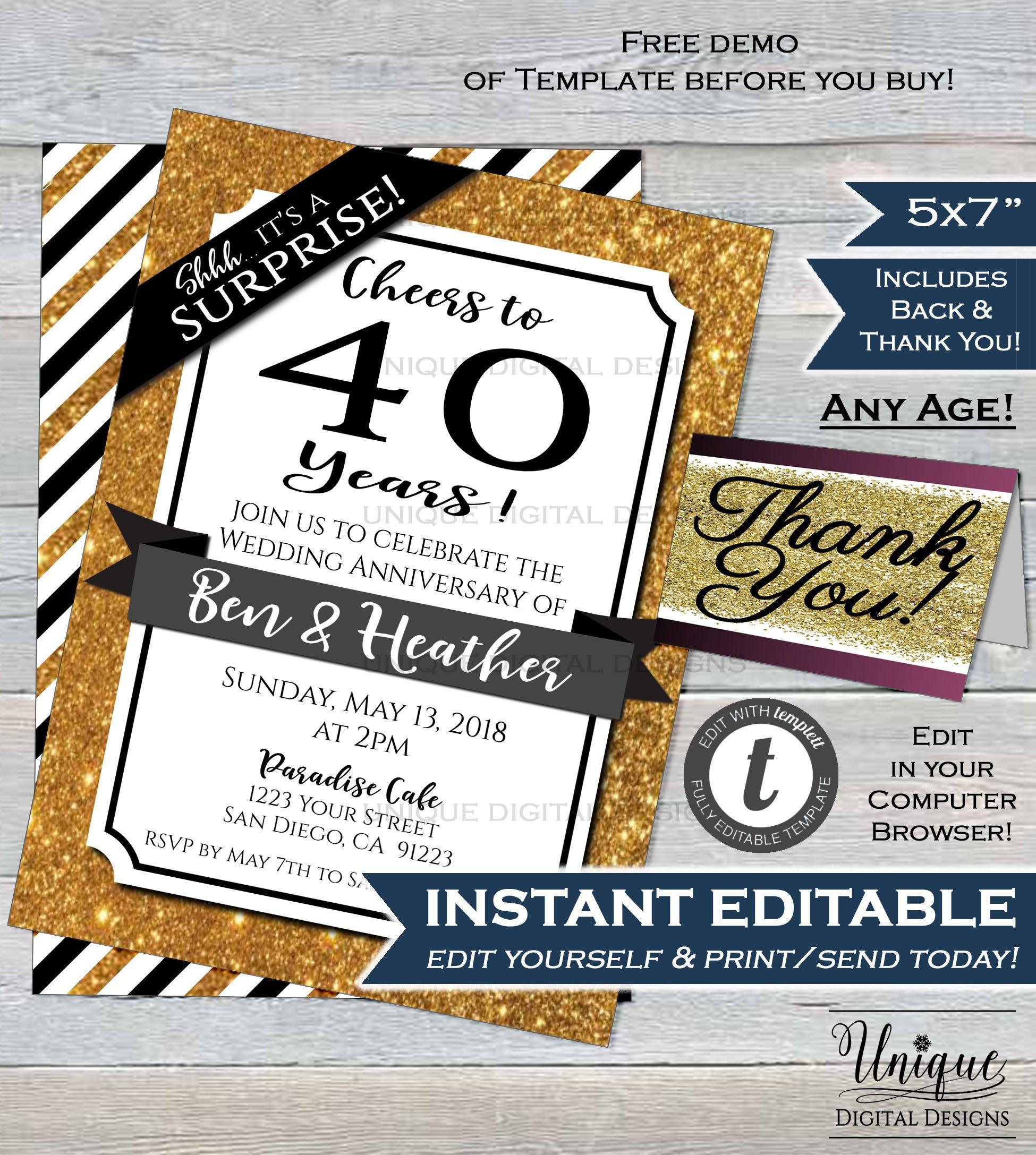 40Th Anniversary Invitation Fourtieth Wedding Anniversary Ruby | Etsy - Free Printable 40Th Anniversary Invitations