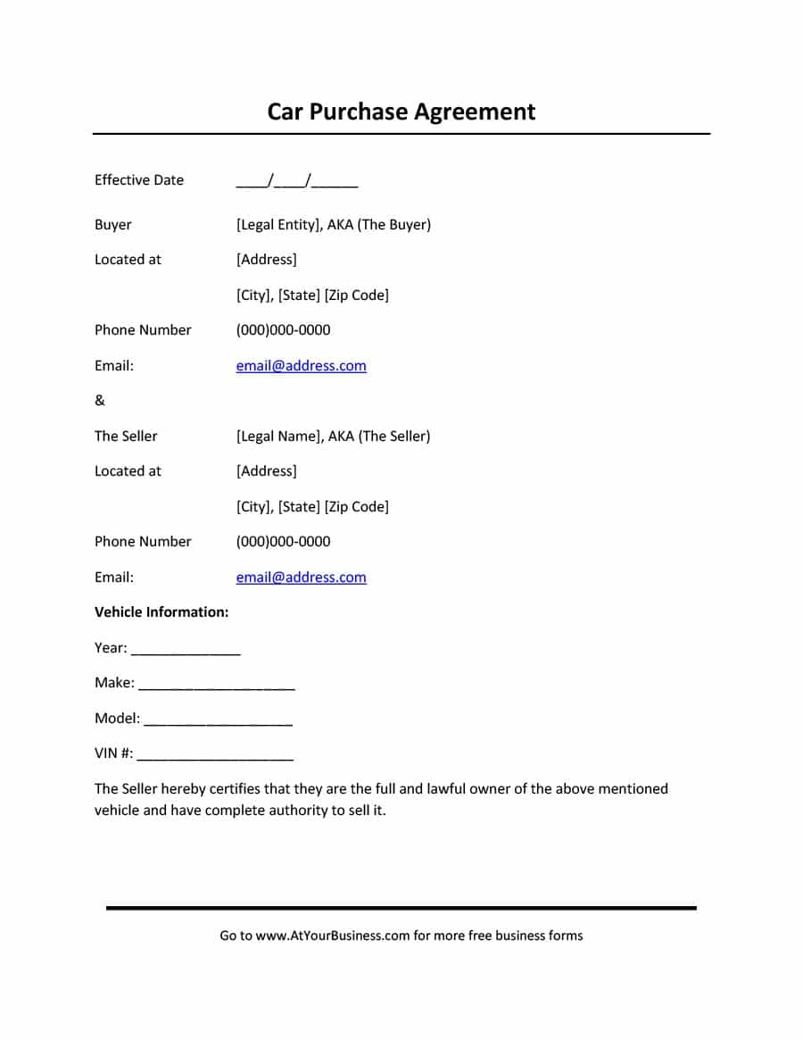 42 Printable Vehicle Purchase Agreement Templates - Template Lab - Free Printable Purchase Agreement Template