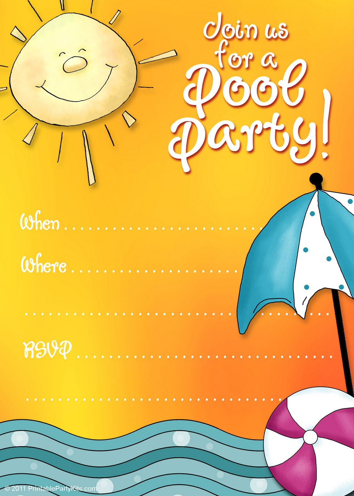 45 Pool Party Invitations   Kittybabylove - Free Printable Pool Party Birthday Invitations
