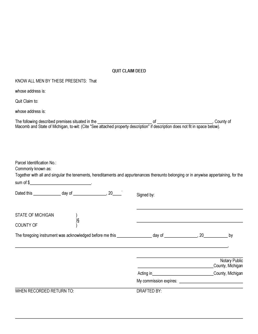 46 Free Quit Claim Deed Forms & Templates - Template Lab - Free Printable Quit Claim Deed Form