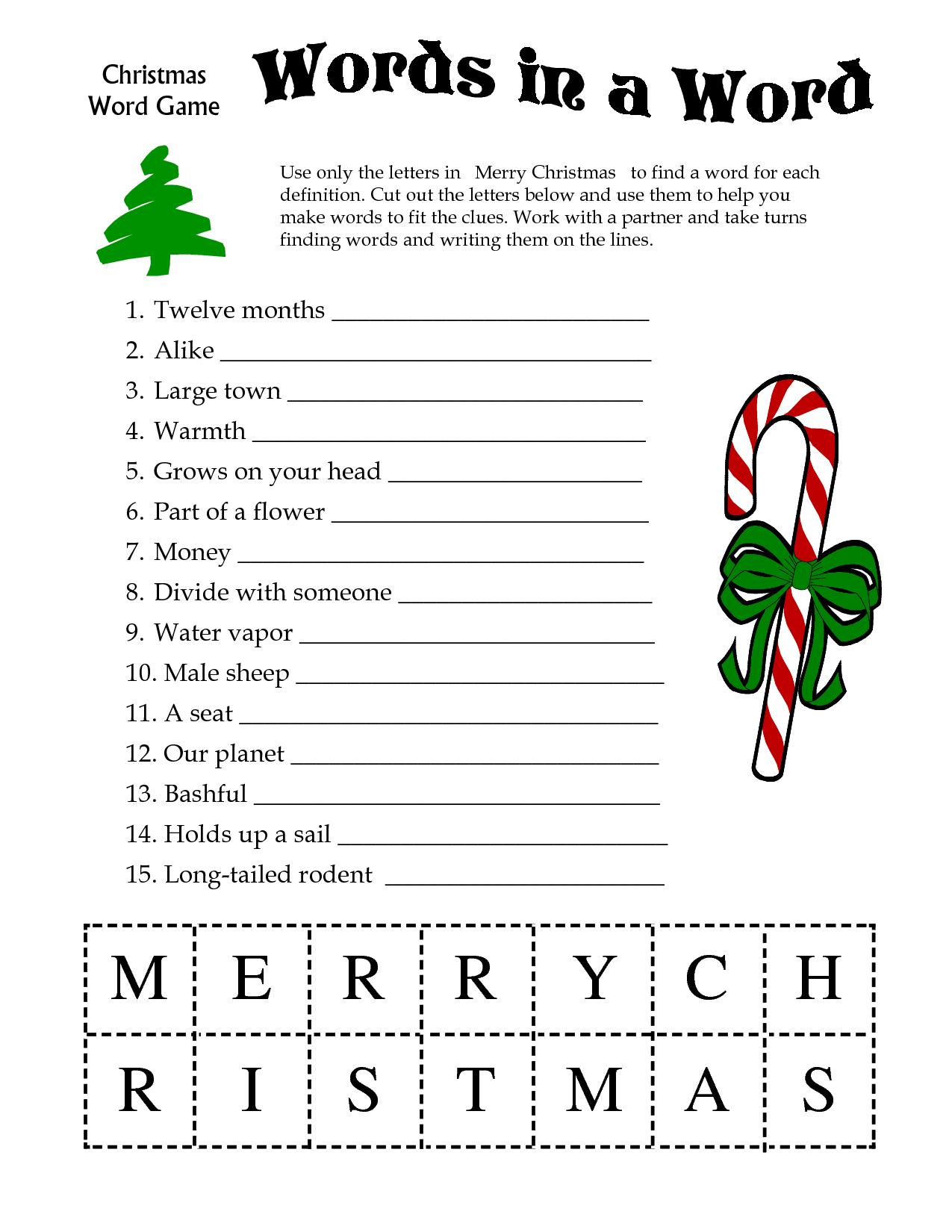 5 Images Of Free Printable Christmas Word Games   Printablee - Christmas Song Scramble Free Printable